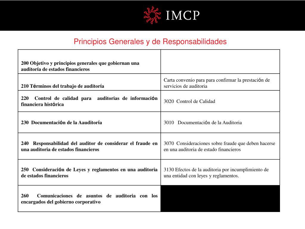 Principios Generales y de Responsabilidades