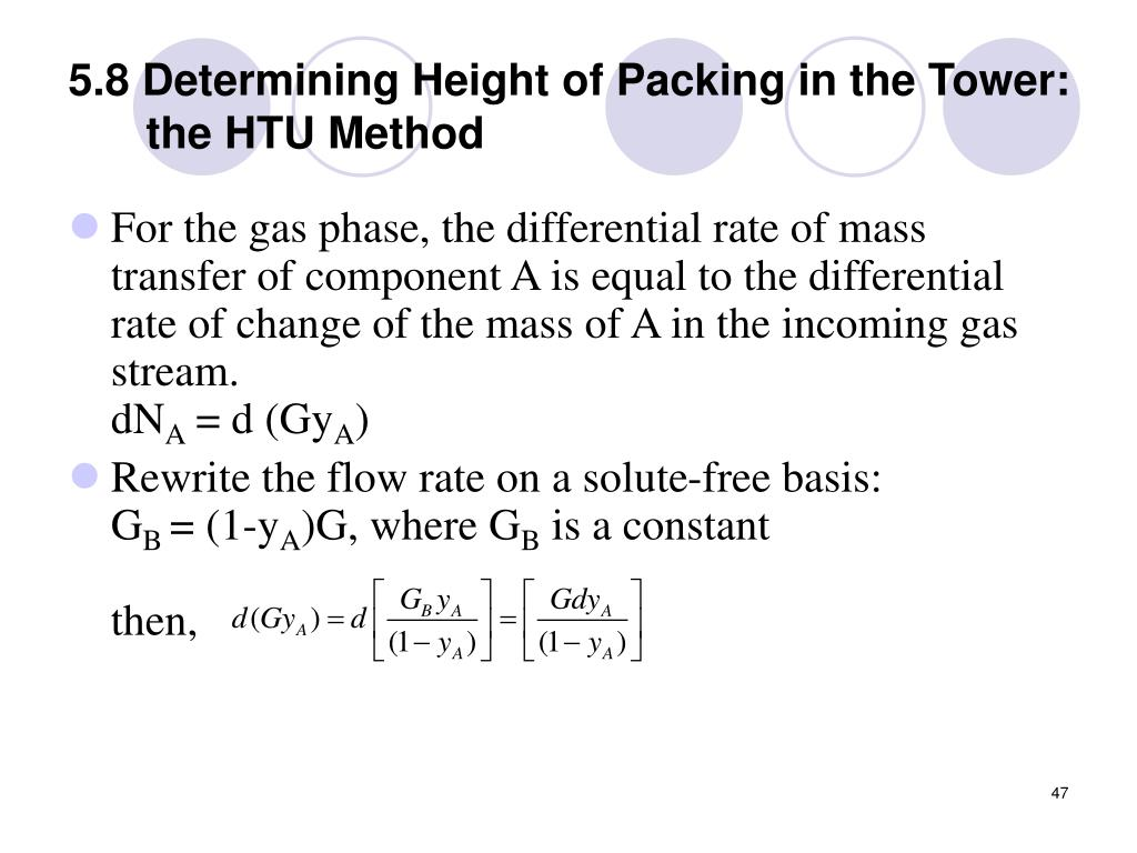 5.8 Determining Height of Packing in the Tower: the HTU Method