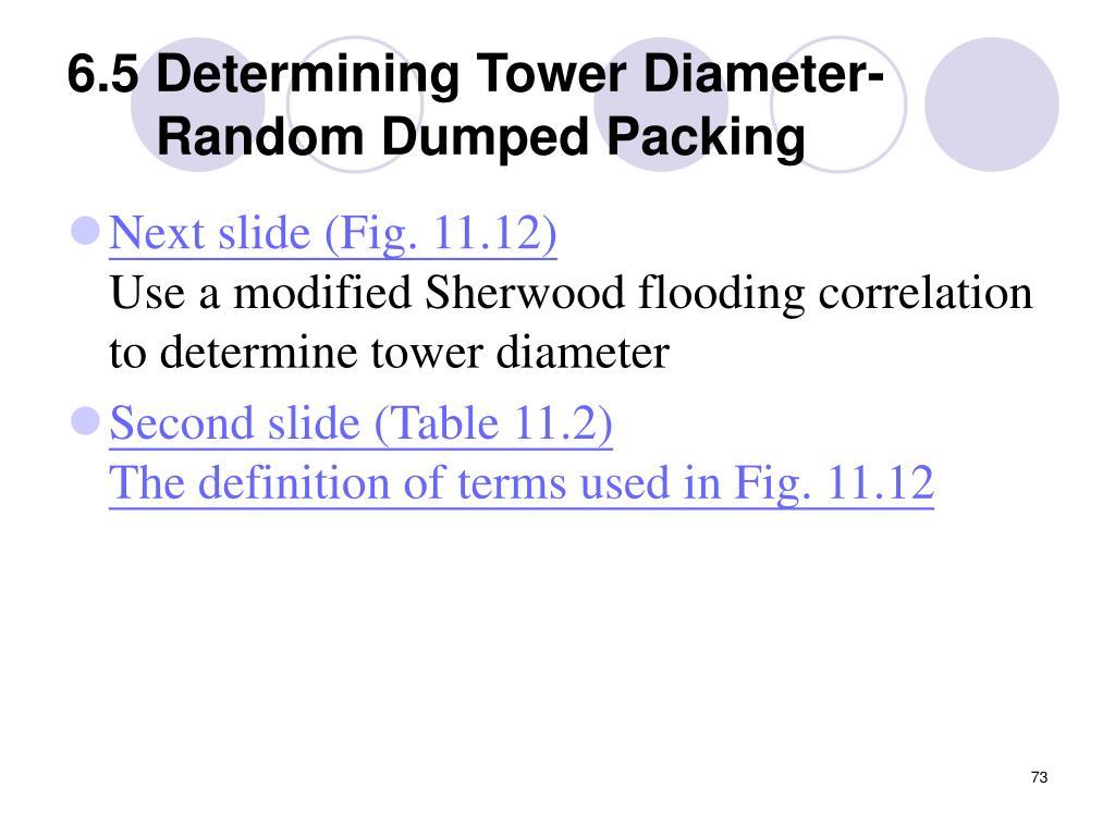 6.5 Determining Tower Diameter-Random Dumped Packing