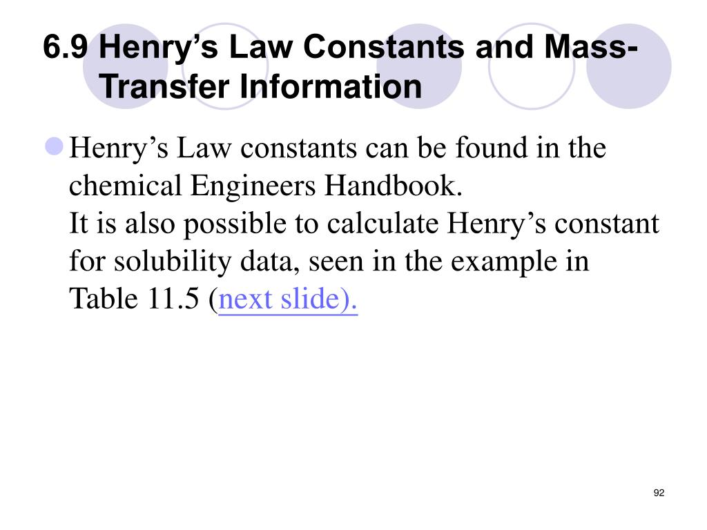 6.9 Henry's Law Constants and Mass-Transfer Information