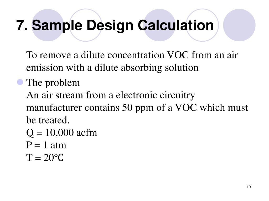 7. Sample Design Calculation