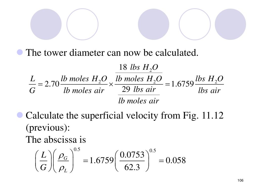 The tower diameter can now be calculated.