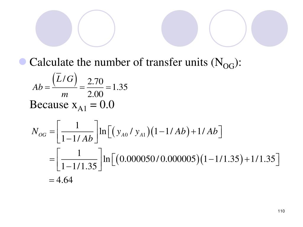 Calculate the number of transfer units (N