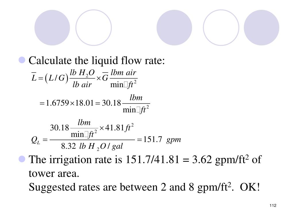 Calculate the liquid flow rate: