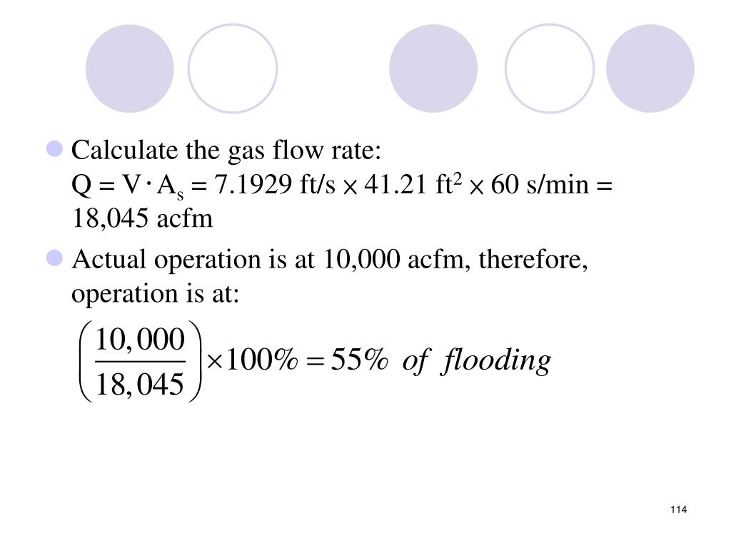 Calculate the gas flow rate: