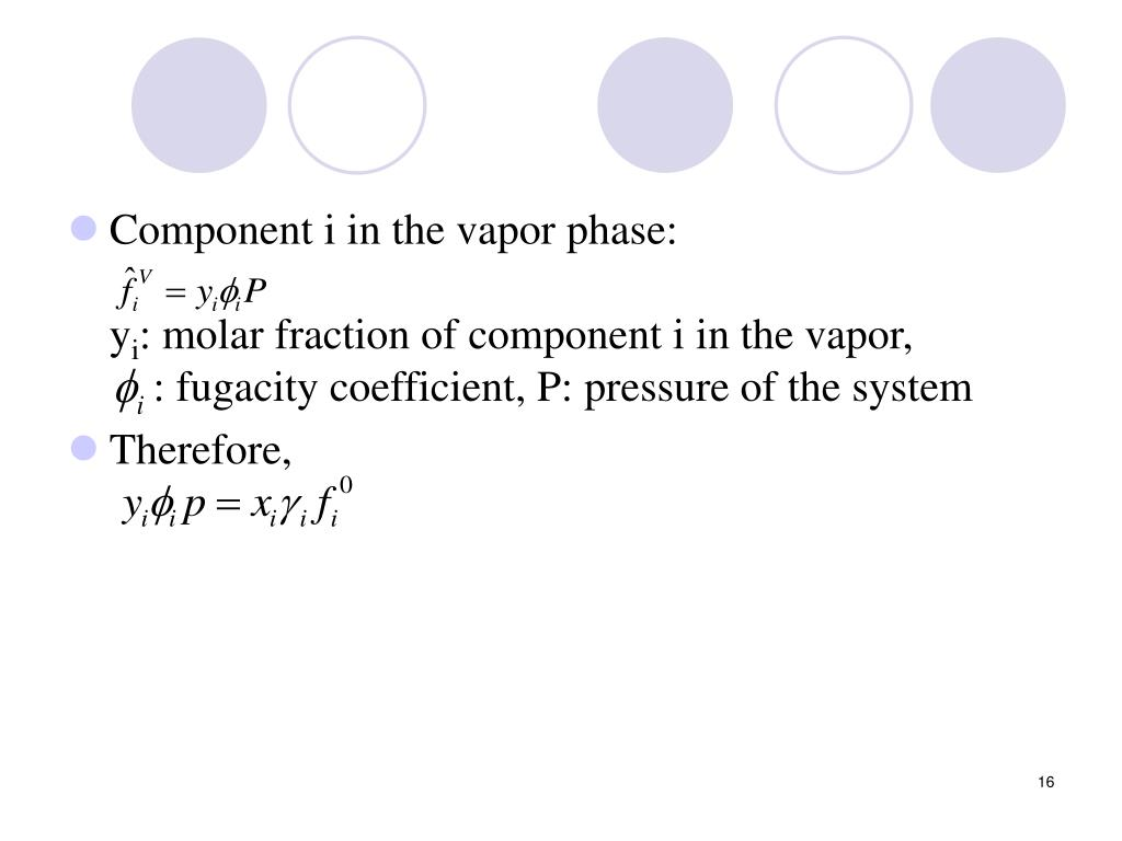 Component i in the vapor phase: