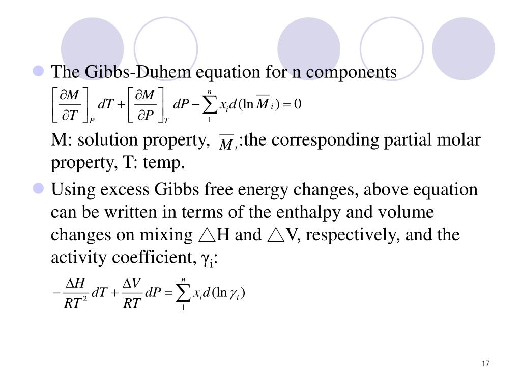 The Gibbs-Duhem equation for n components