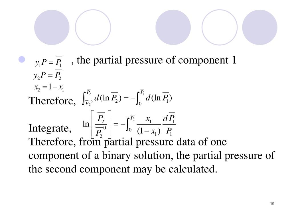, the partial pressure of component 1