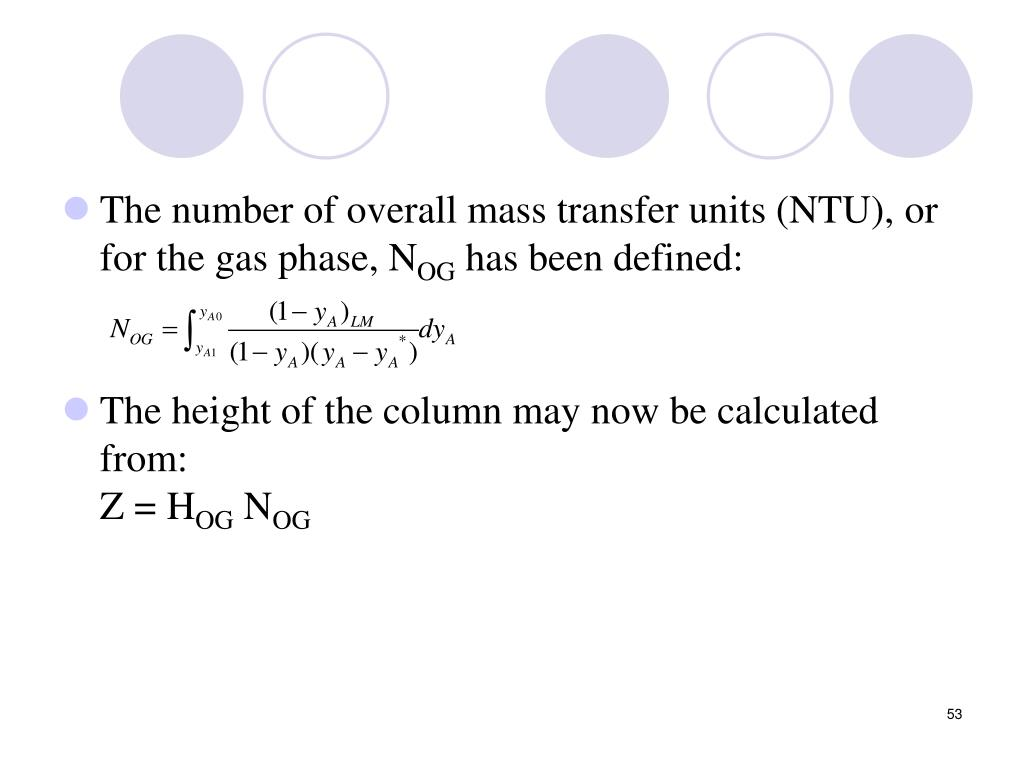 The number of overall mass transfer units (NTU), or for the gas phase, N