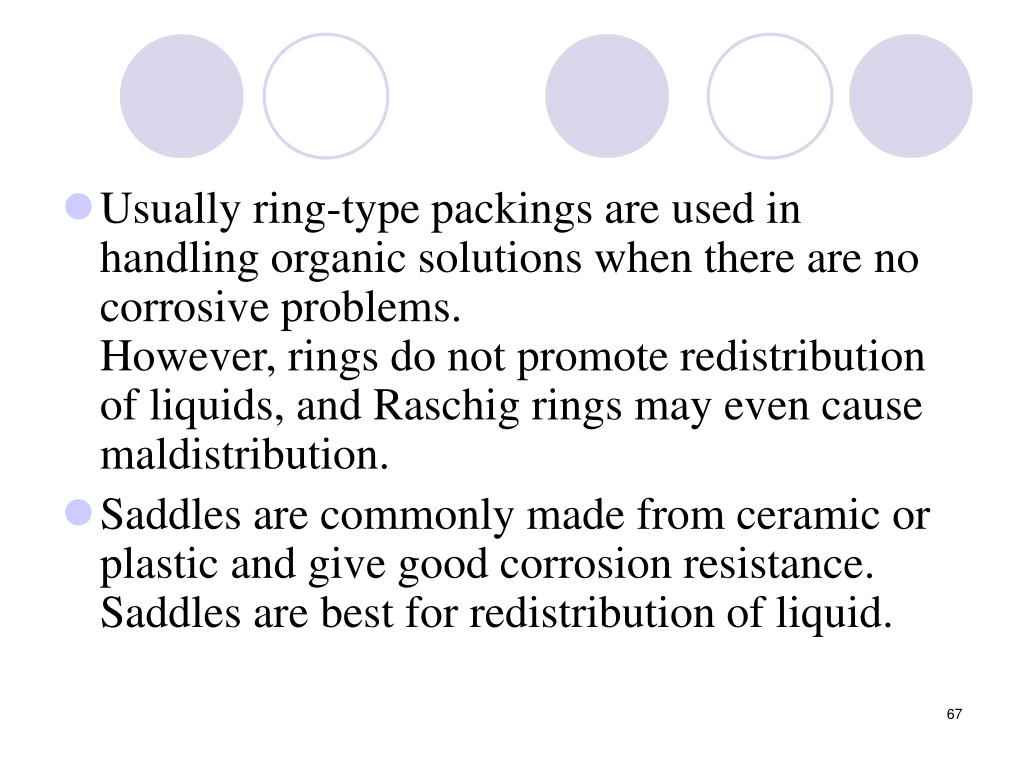 Usually ring-type packings are used in handling organic solutions when there are no corrosive problems.