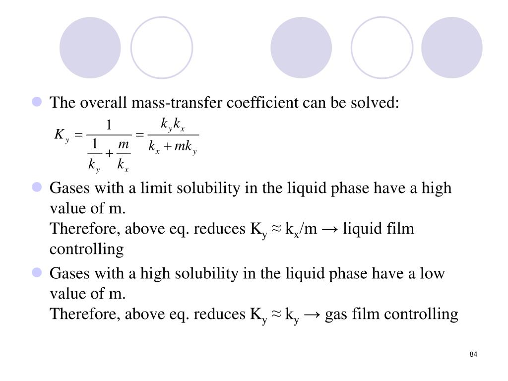 The overall mass-transfer coefficient can be solved: