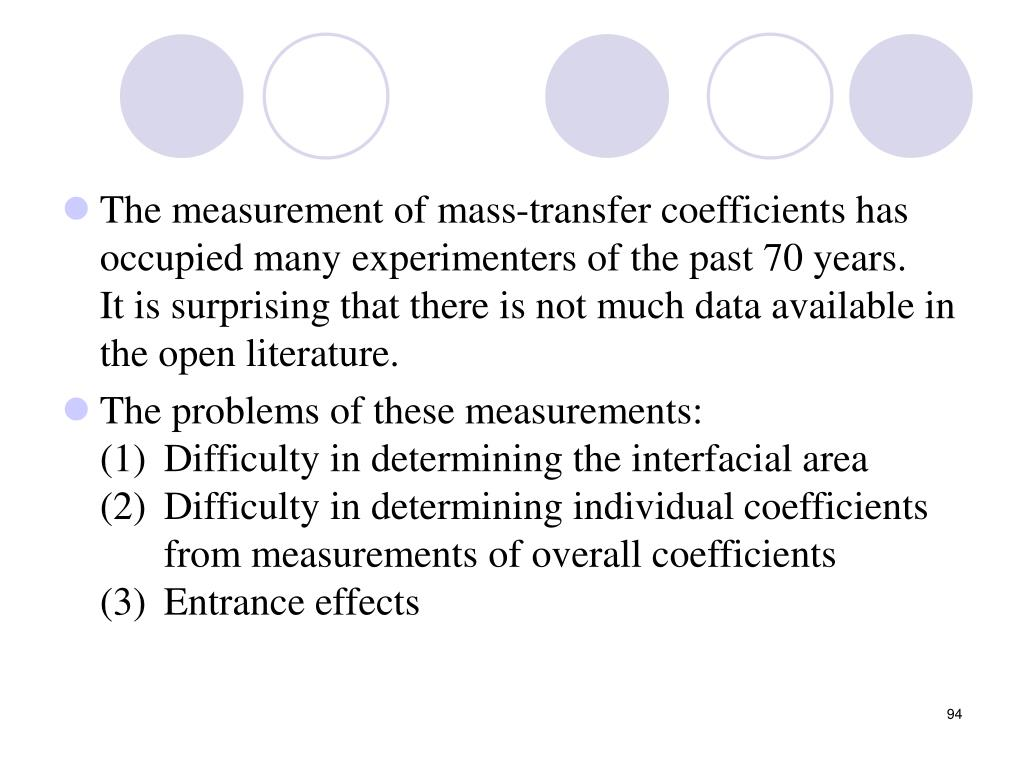 The measurement of mass-transfer coefficients has occupied many experimenters of the past 70 years.