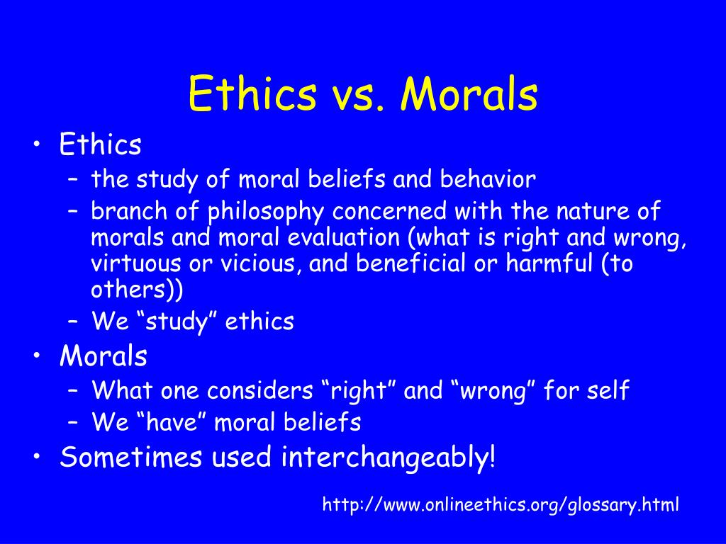 Ethics vs. Morals