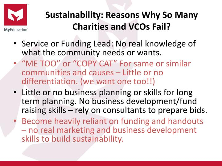 Sustainability: Reasons Why So Many Charities and VCOs Fail?