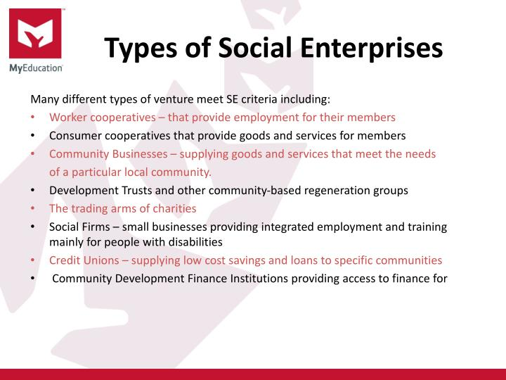 Types of social enterprises