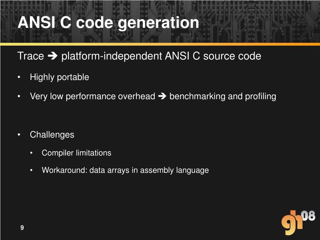 ANSI C code generation