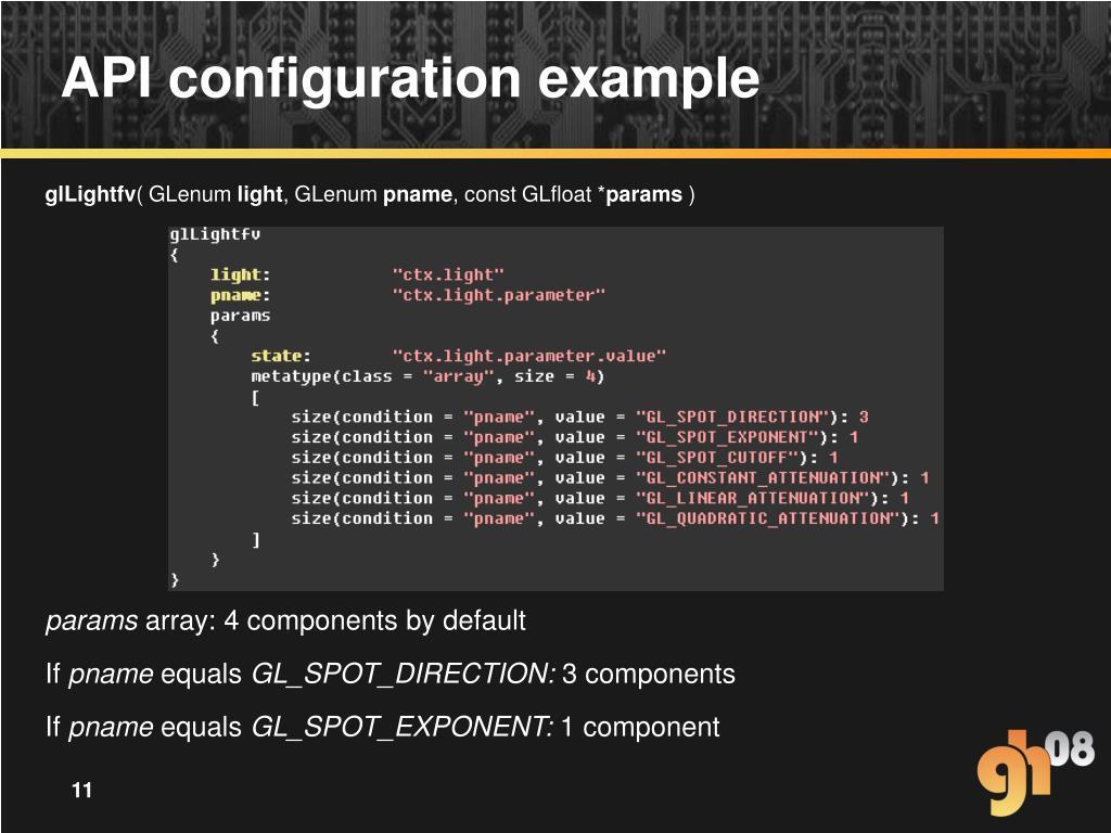 API configuration example