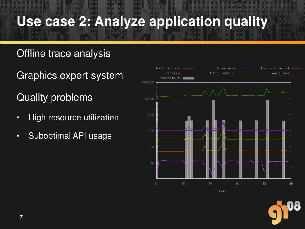Use case 2: Analyze application quality