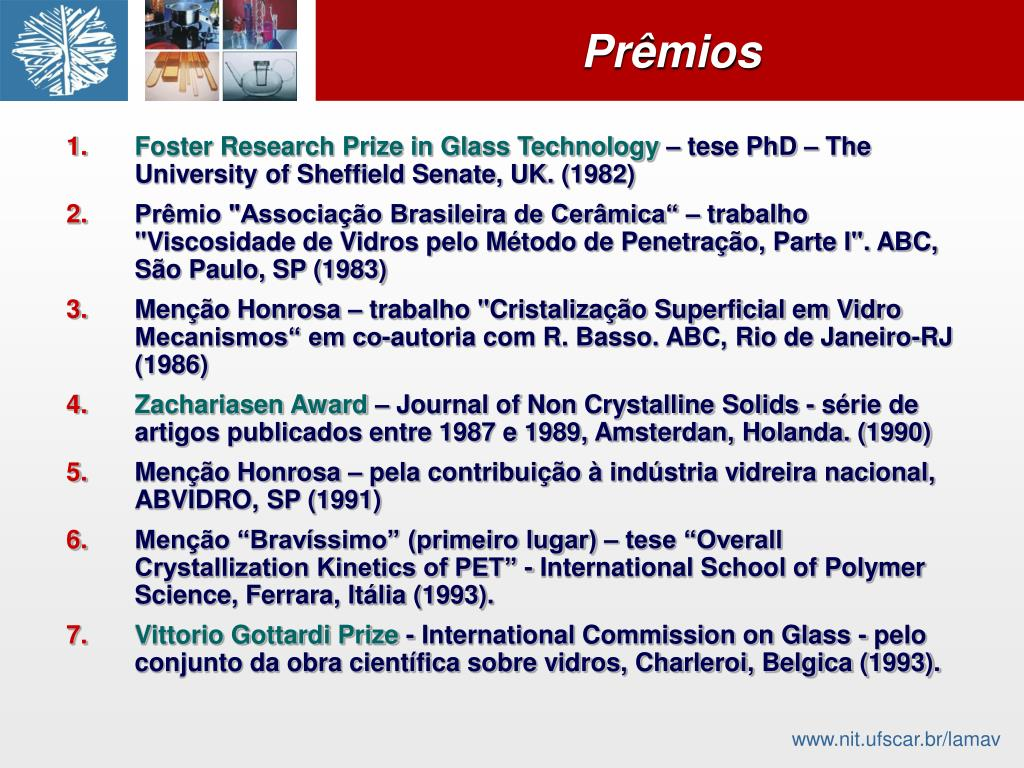 Foster Research Prize in Glass Technology
