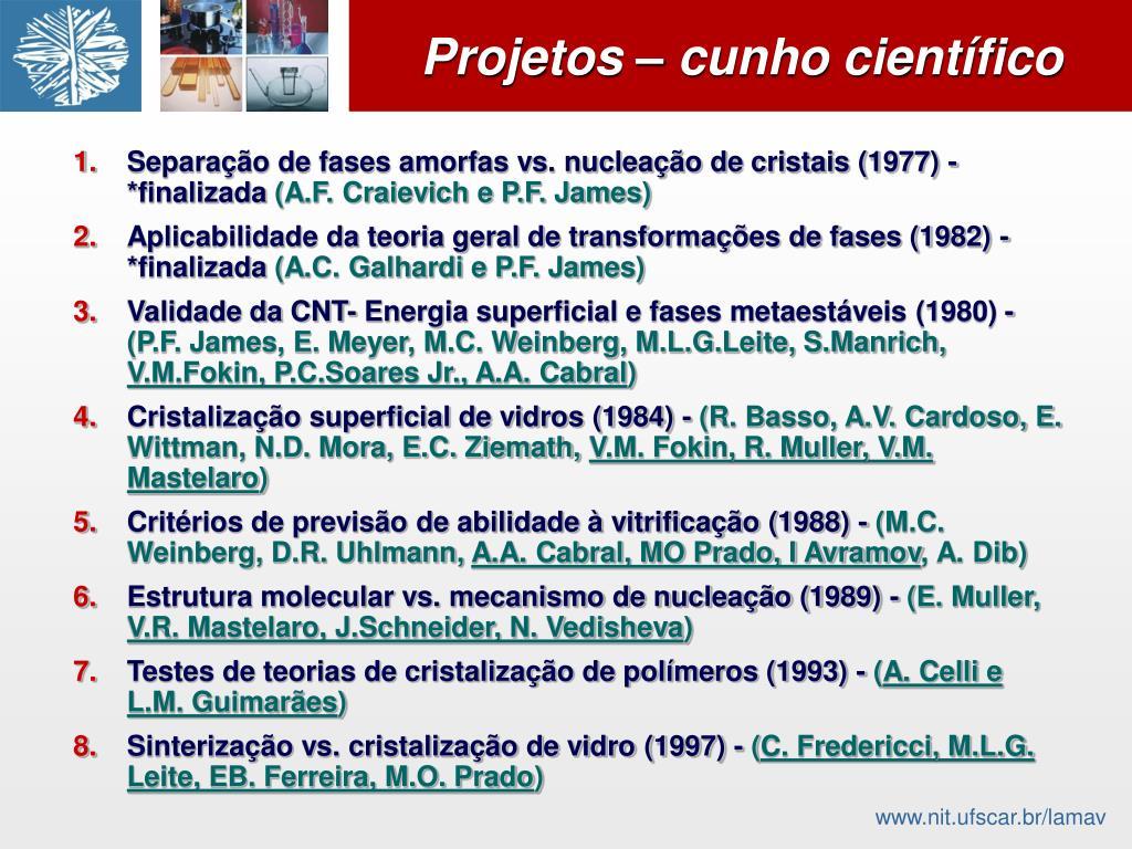 Separação de fases amorfas vs. nucleação de cristais (1977) - *finalizada