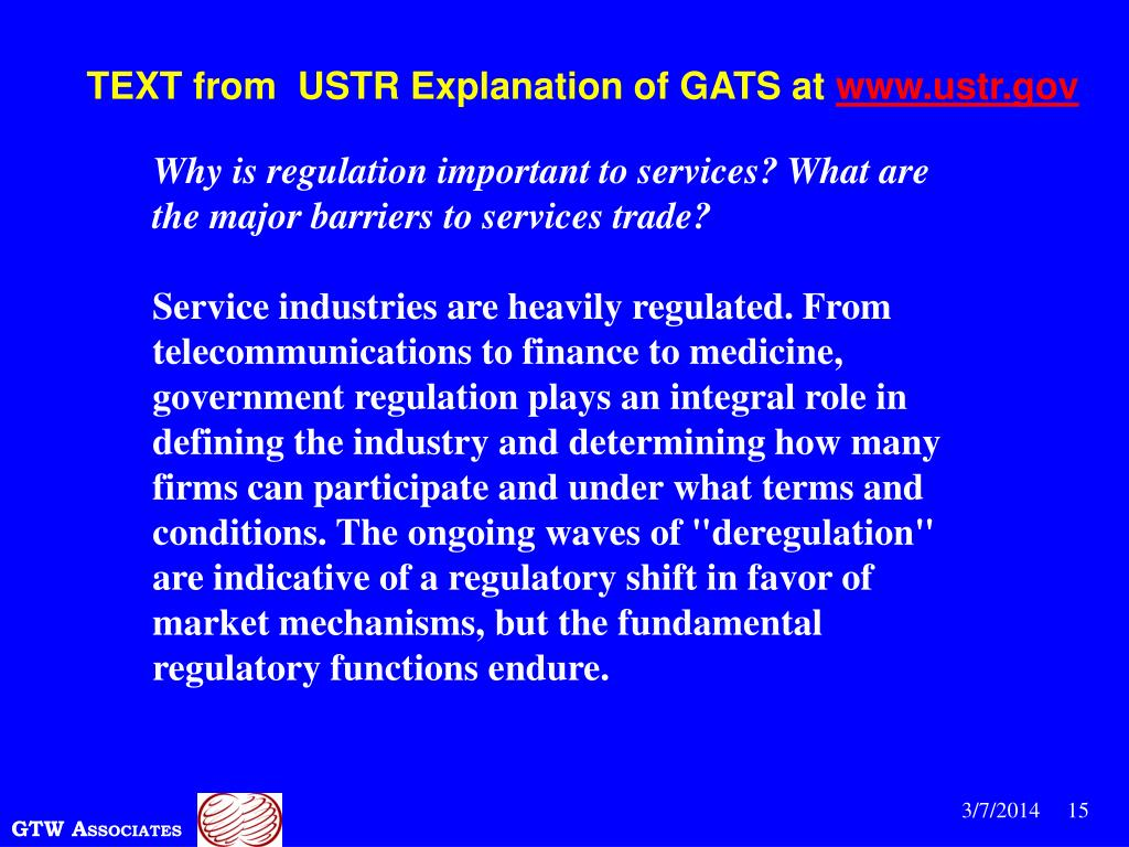 TEXT from  USTR Explanation of GATS at