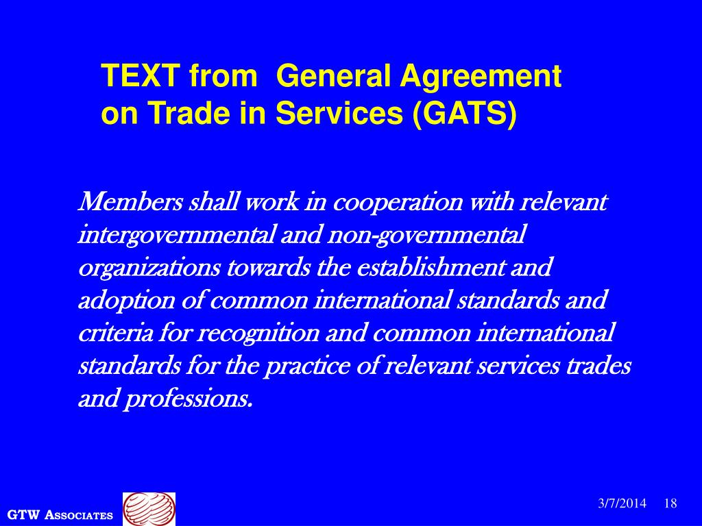 TEXT from  General Agreement on Trade in Services (GATS)