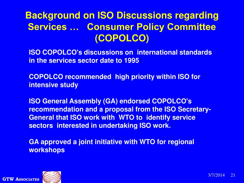 Background on ISO Discussions regarding Services …   Consumer Policy Committee  (COPOLCO)
