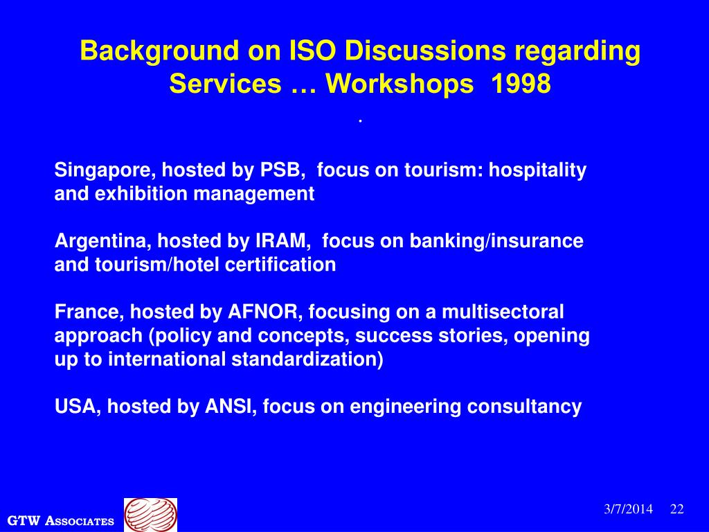 Background on ISO Discussions regarding Services … Workshops  1998