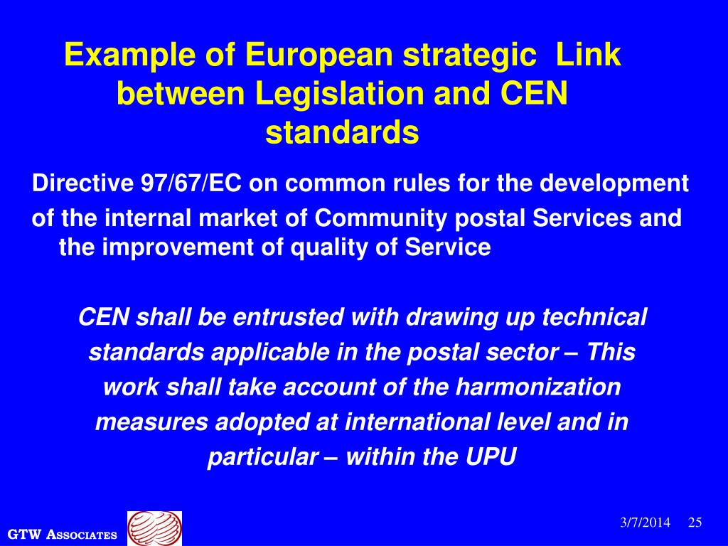 Example of European strategic  Link between Legislation and CEN standards