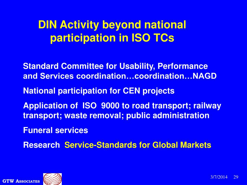 DIN Activity beyond national participation in ISO TCs