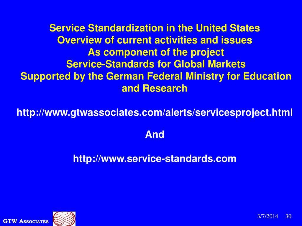 Service Standardization in the United States