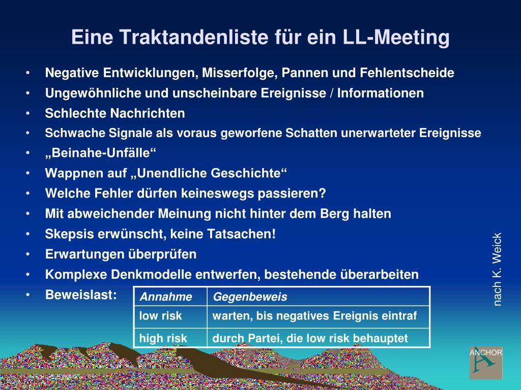 Eine Traktandenliste für ein LL-Meeting