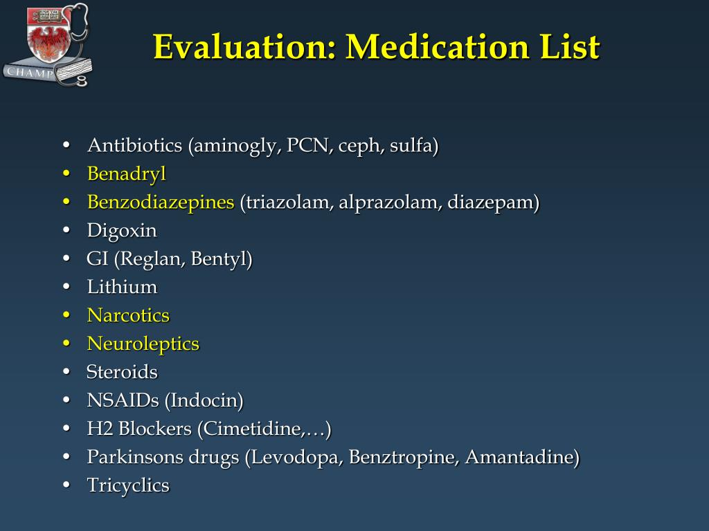 Evaluation: Medication List