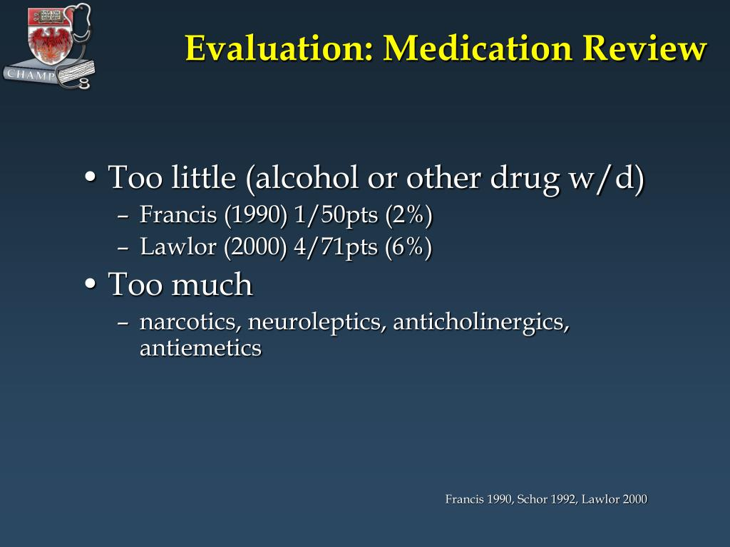 Evaluation: Medication Review