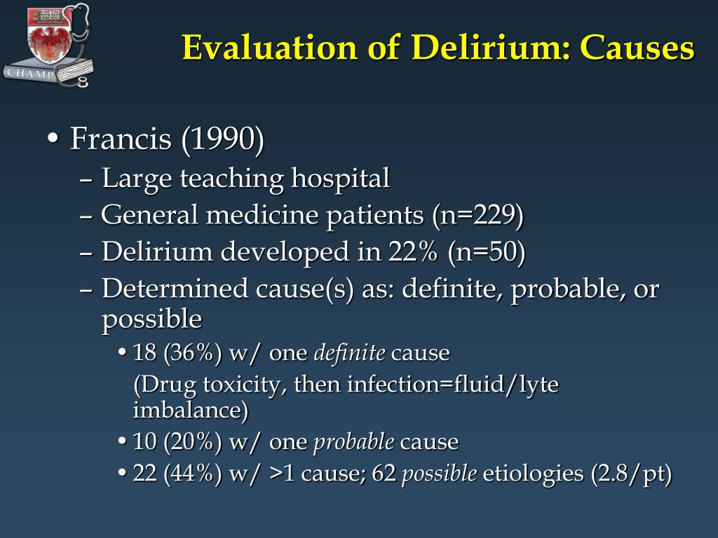 Evaluation of Delirium: Causes