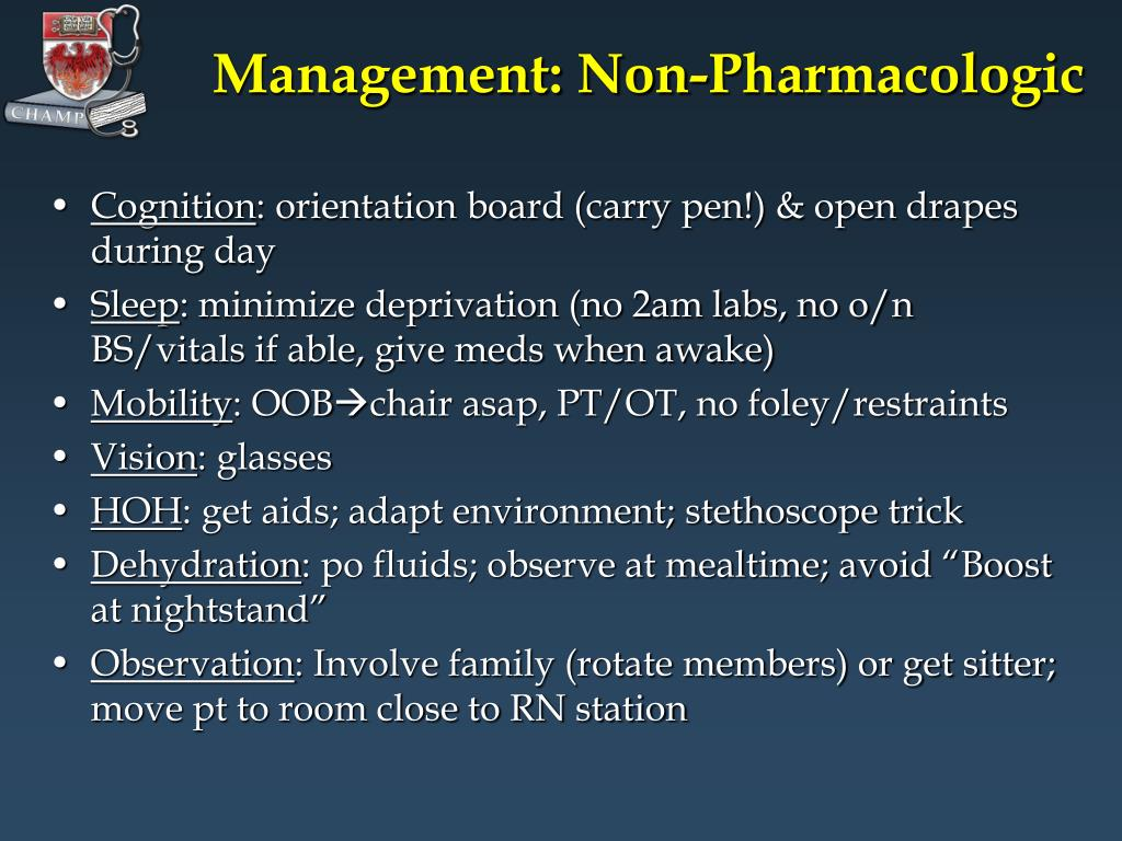 Management: Non-Pharmacologic