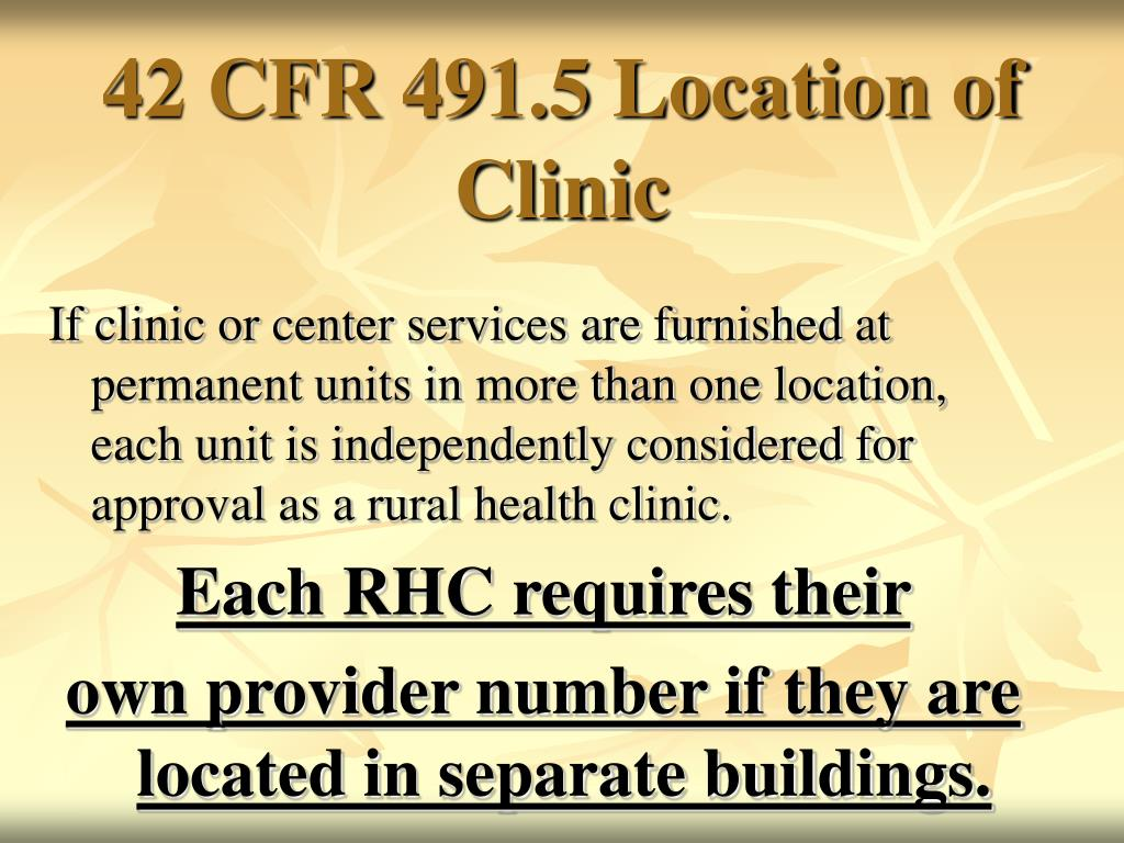 42 CFR 491.5 Location of Clinic