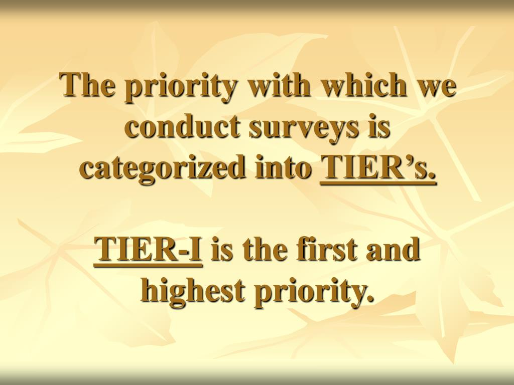The priority with which we conduct surveys is categorized into