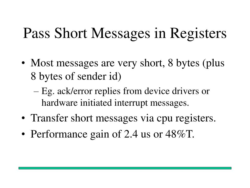 Pass Short Messages in Registers