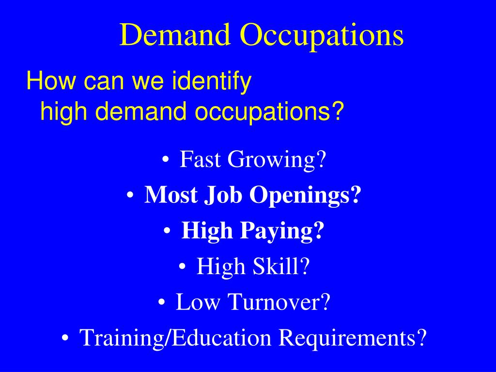 Demand Occupations