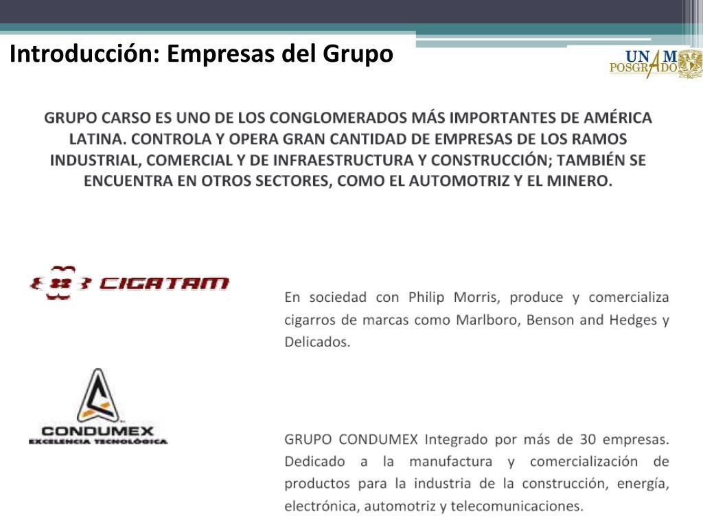 Introducción: Empresas del Grupo