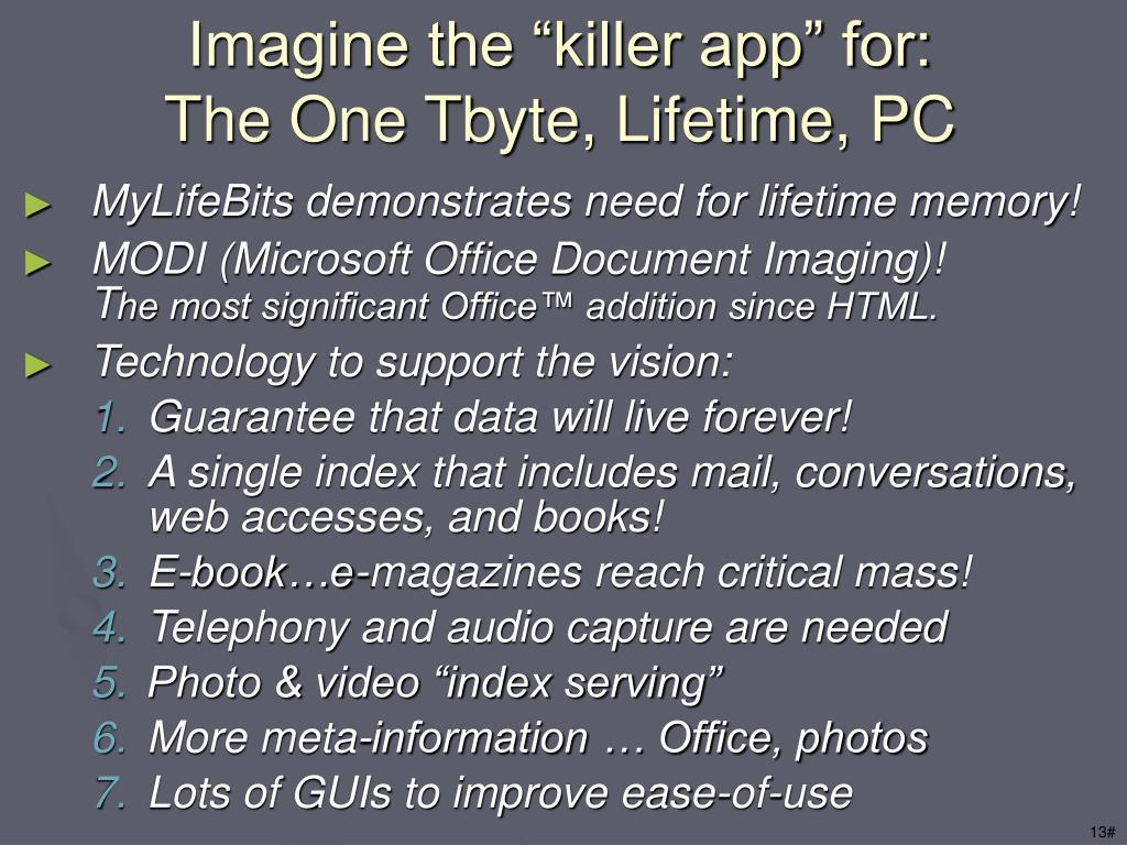 """Imagine the """"killer app"""" for:"""