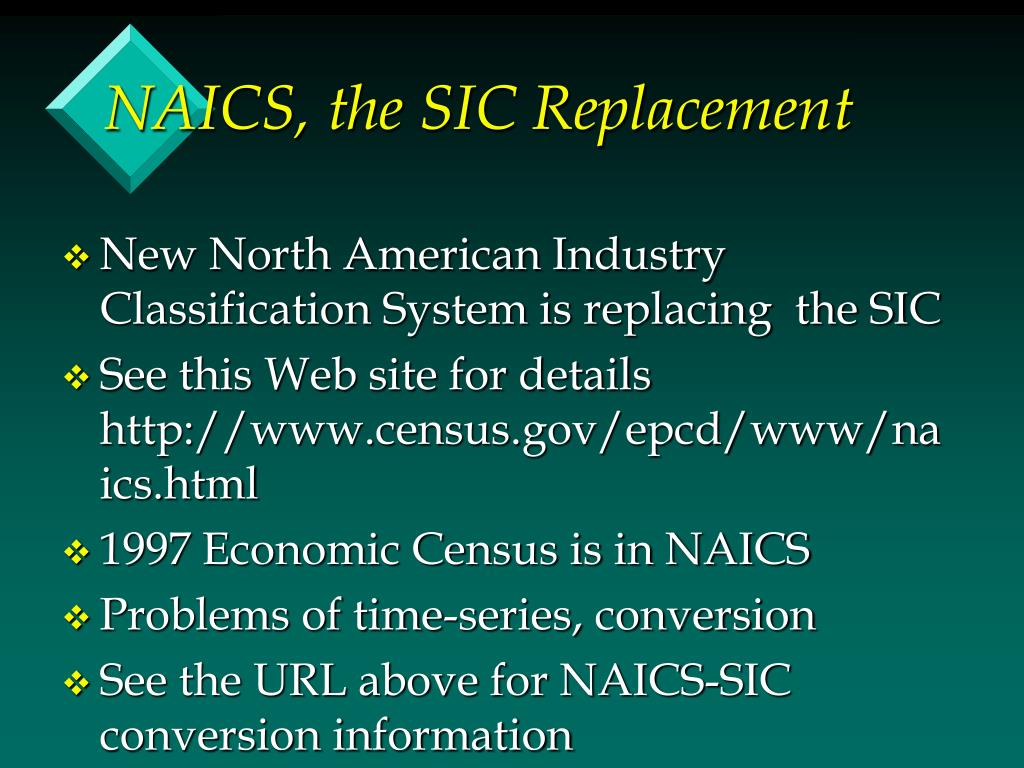 NAICS, the SIC Replacement