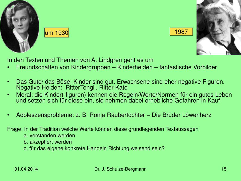 In den Texten und Themen von A. Lindgren geht es um