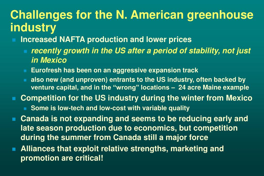 Challenges for the N. American greenhouse industry
