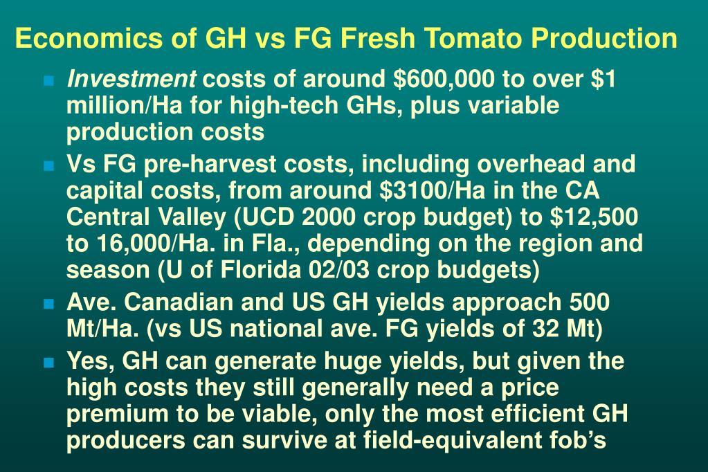 Economics of GH vs FG Fresh Tomato Production