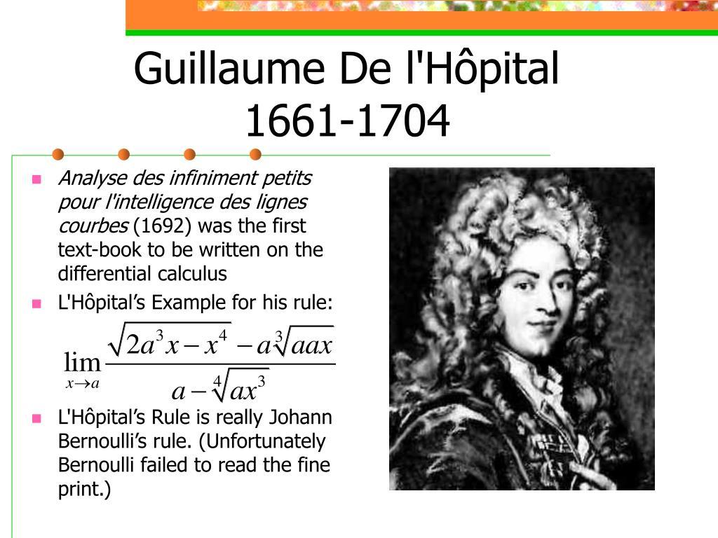 Guillaume De lHôpital16611704 ~ Hopital De Bois Guillaume
