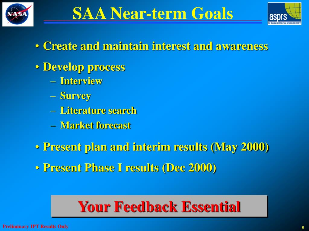 SAA Near-term Goals