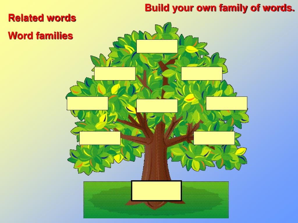 Build your own family of words.