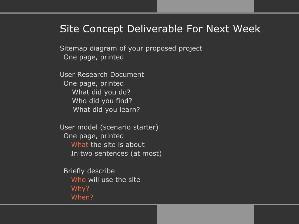 Site Concept Deliverable For Next Week